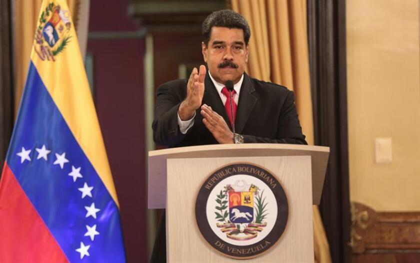 El grupo puertorriqueño Movimiento Independentista Nacional Hostosiano (MINH) repudió hoy el atentado del sábado contra el presidente de Venezuela, Nicolás Maduro, y por el cual se han detenido -al momento- a seis personas implicadas con el suceso. EFE/PRENSA MIRAFLORES/SOLO USO EDITORIAL/NO VENTAS