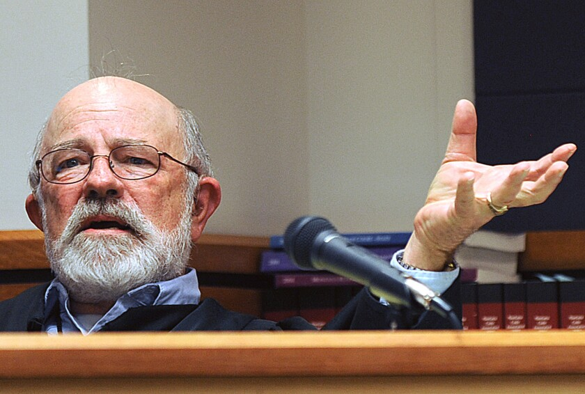 Judge G. Todd Baugh presides at a hearing in Great Falls, Mont., in September 2013.