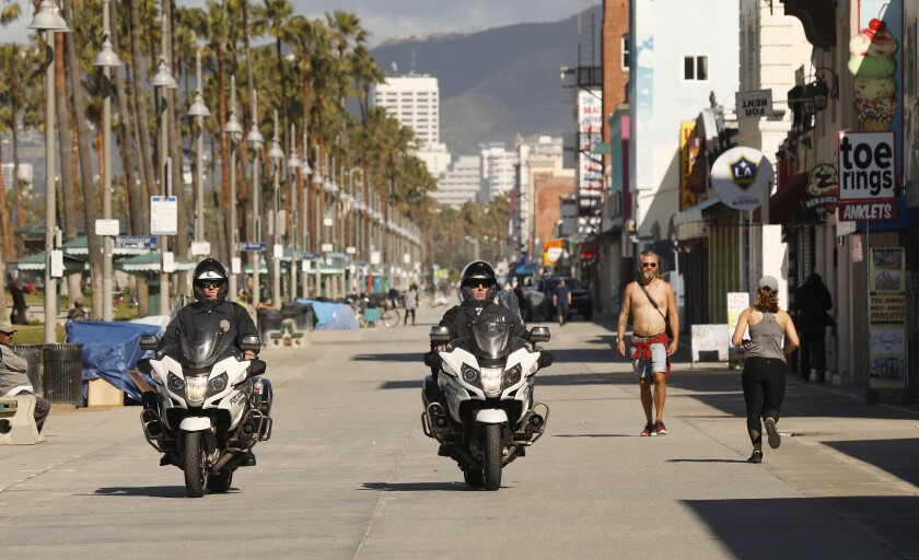Motorcycle police on the Venice Boardwalk