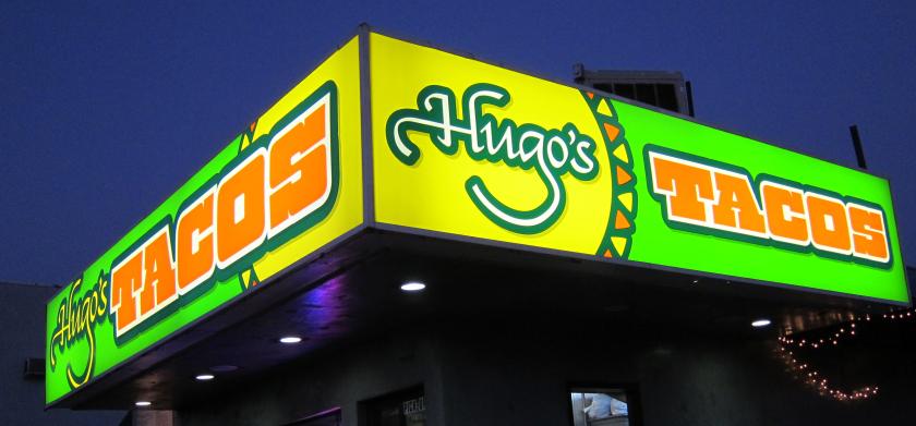 Hugo's Tacos sign