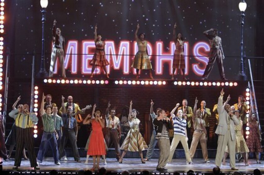 """The cast of """"Memphis,"""" which received eight Tony Award nominations, performs during the 61st Tony Awards, Sunday, June 13, 2010 in New York."""