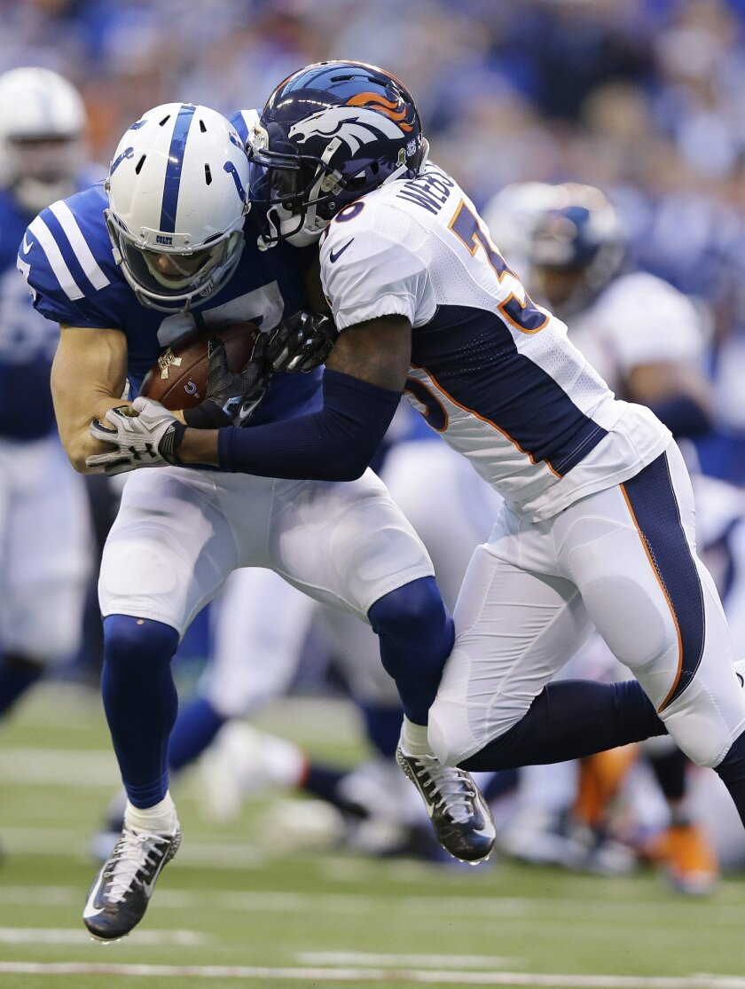 Indianapolis Colts' Griff Whalen, left, is tackled by Denver Broncos' Kayvon Webster during the first half of an NFL football game Sunday, Nov. 8, 2015, Indianapolis. (AP Photo/Michael Conroy)
