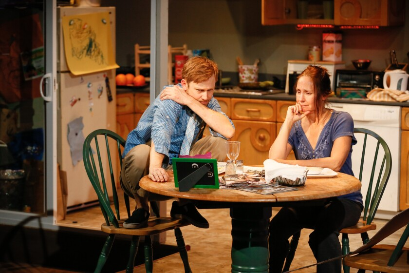 "Jimmi Simpson plays Trevor and Laurie Metcalf is his ""mother"" in Circle X Theatre Co.'s ""Trevor"" at the Atwater Village Theatre."