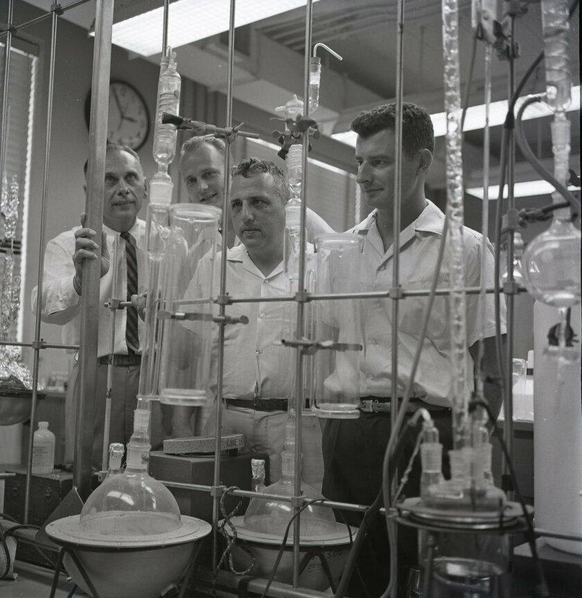 Prof. Albert Engel, Dr. Mel Peterson, Prof. Edward Goldberg and John Griffin at the new School of Science & Engineering.