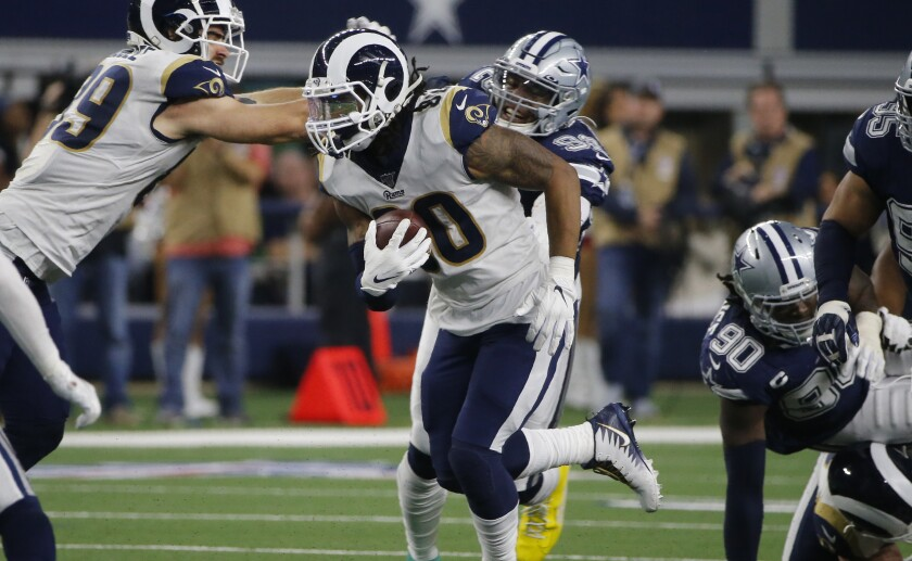 The Rams' Todd Gurley did not find much running room against the Dallas Cowboys.