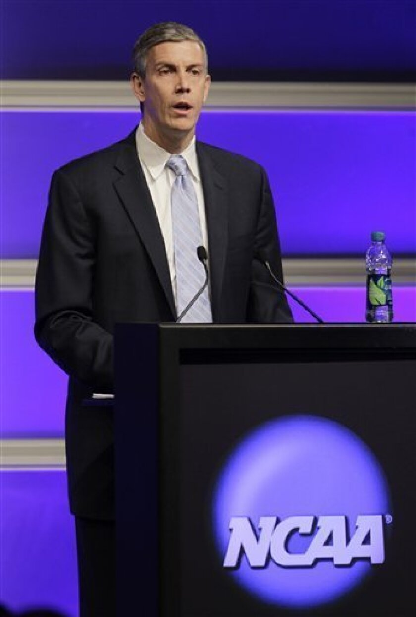 U.S. Secretary of Education Arne Duncan delivers the keynote address at the 2012 NCAA Convention Wednesday, Jan. 11, 2012, in Indianapolis. (AP Photo/Darron Cummings)
