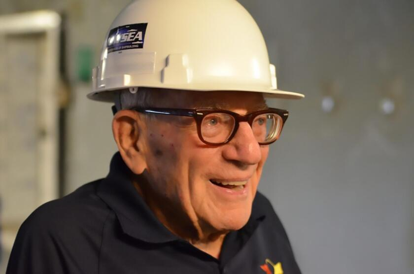 Walter Munk on a tour of Research Vessel Sally Ride. (2014)