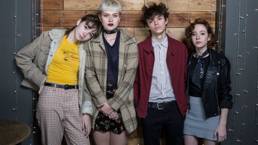 LOS ANGELES, CALIF. -- MONDAY, DECEMBER 19, 2016: The Regrettes are from left, Lydia Night, Sage Ch