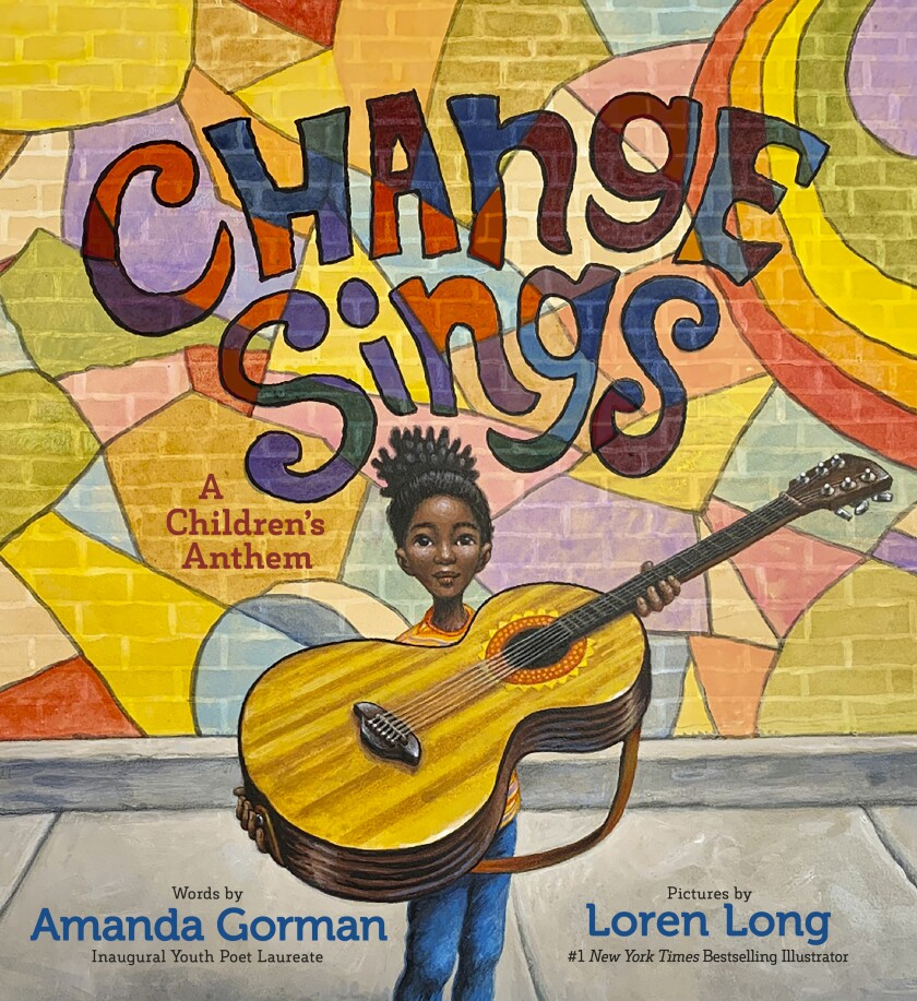 "Cover of ""Change Sings"" shows a Black girl carrying a big guitar and the book title on a multicolored brick wall behind her."