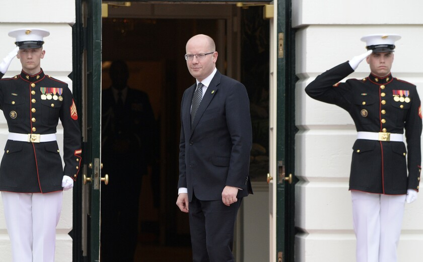 Bohuslav Sobotka, prime minister of the Czech Republic, arrives at the White House on March 31.