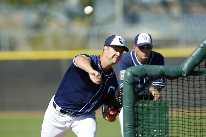 San Diego Padres Colin Rea pitches during a spring training practice.