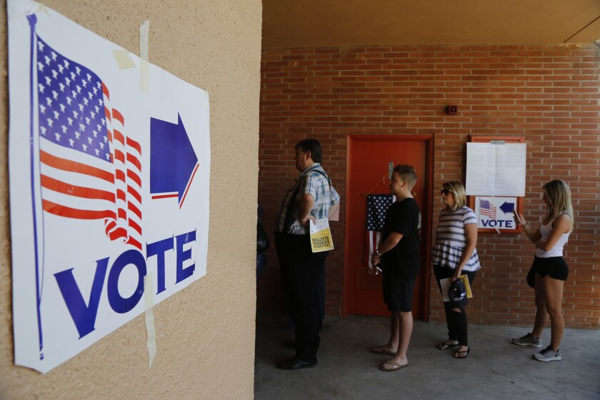 Voters in the city of Orange cast their ballots on Nov. 8. In most legislative and congressional races, party-anointed candidates prevailed.