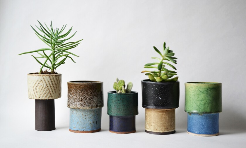 The local design duo A Question of Eagles has a line that includes petite plant pots, some fired in a cool palette of glazes.