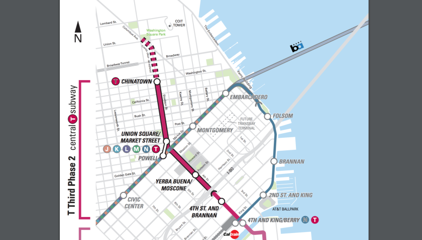 The Central Subway, under construction, will connect the Caltrain terminus at 4th and King streets with Market Street, Union Square and Chinatown.