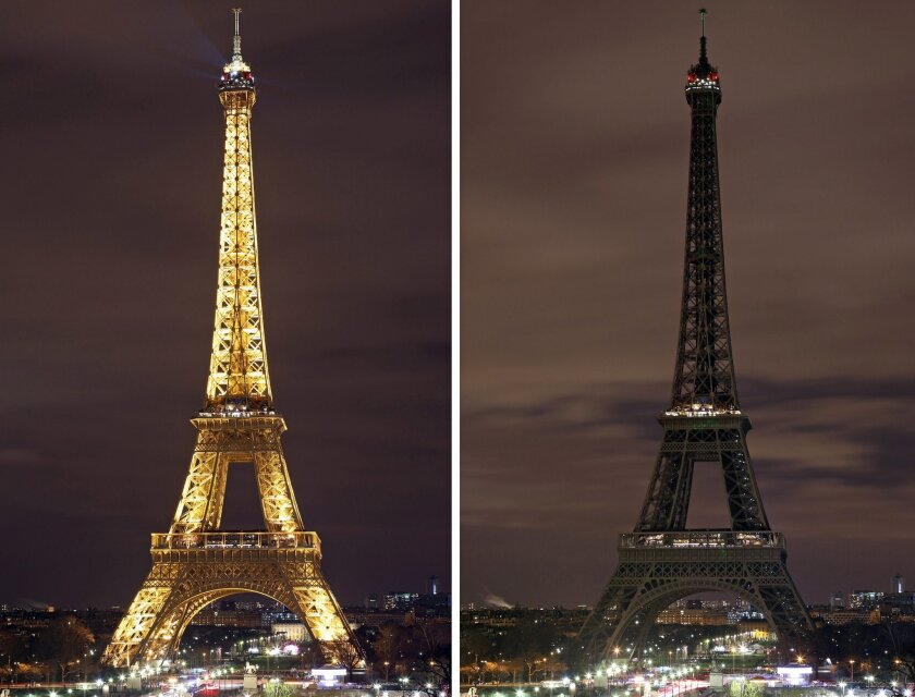 COMBINATION PHOTO - In this two photo combination picture, the Eiffel Tower with its usual lighting at left, and after the lighting was switched off at right, at the occasion of the Earth Hour, in Paris, France, Saturday March 28, 2015.  This Saturday, 28 March 8:30 p.m. local time, individuals, bu