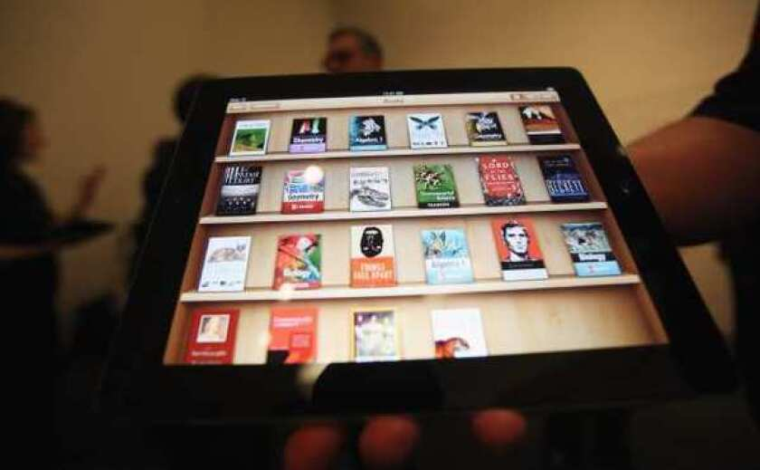 Apple's iBooks 2 app, demonstrated at an iPad event this year in New York.
