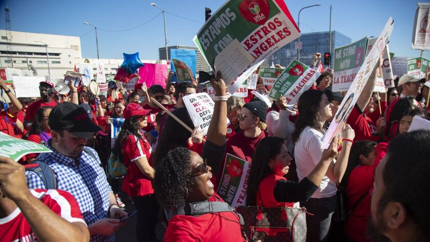LOS ANGELES, CA - DECEMBER 15, 2018: Hundreds of protesters joined in with UTLA to march for Public