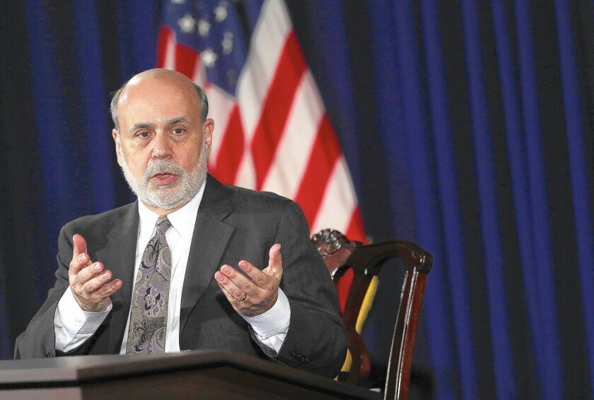 Former Fed Chairman Ben Bernanke says he has been unable to refinance his nearly $1-million Washington townhouse.