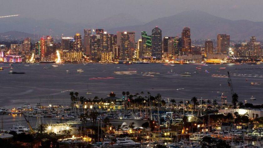 The downtown San Diego skyline and San Diego Bay