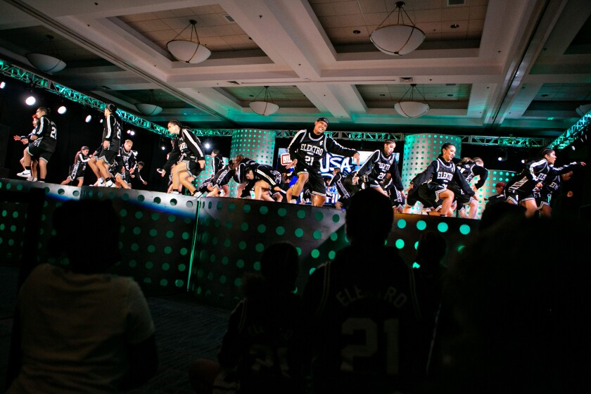 Dancers onstage compete in the finals of the 2021 USA Hip Hop Dance Championship.