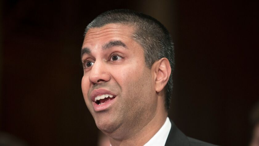 FCC Chairman Ajit Pai, shown testifying at a Senate hearing June 20, will get a third Republican on the commission with President Trump's intention to nominate Brendan Carr.