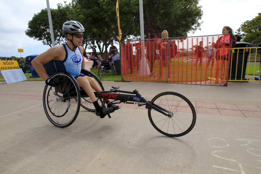 Francisco Postlethwaite, 24 from Mexicali, Mexico, was born with spina bifida and on Sunday competed in his first duathlon (originally set to be a triathlon) at the Chula Vista Challenge San Diego Half Triathlon held at Bayside Park in Chula Vista.