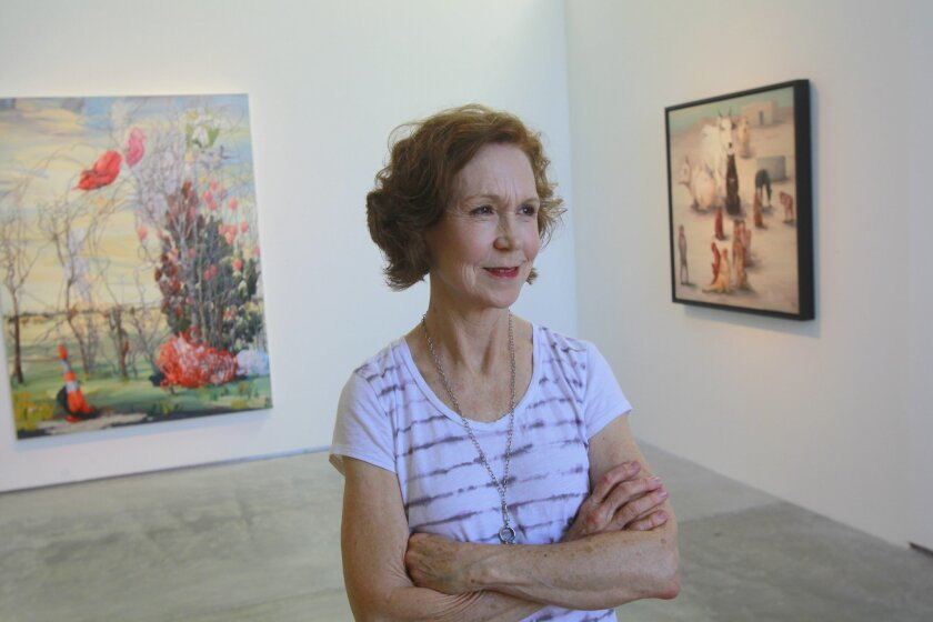 Melissa Miller, artist in residence, stands with her work at the Lux Art Institute on Friday in Encinitas, California.