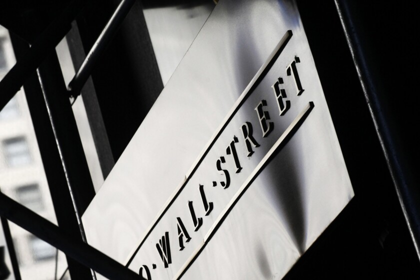 An address sign on Wall Street in New York.