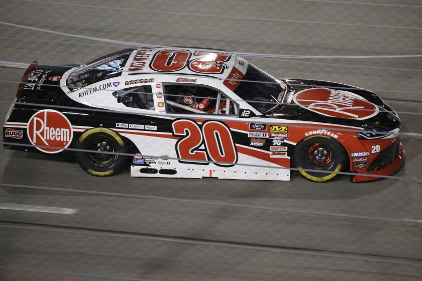 Christopher Bell enters Turn 1 during the NASCAR Xfinity Series auto race at Richmond Raceway in Richmond, Va., Friday, Sept. 20, 2019. (AP Photo/Steve Helber)