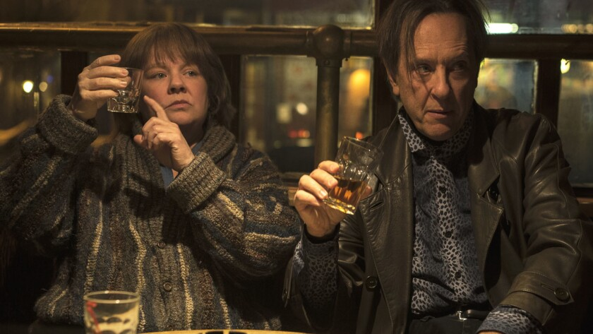 """Melissa McCarthy and Richard E. Grant in the movie """"Can You Ever Forgive Me?"""""""