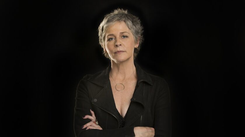 """Melissa McBride, shown posing for a portrait at the Los Angeles Times photo studio, stars in the drama series """"The Walking Dead."""""""