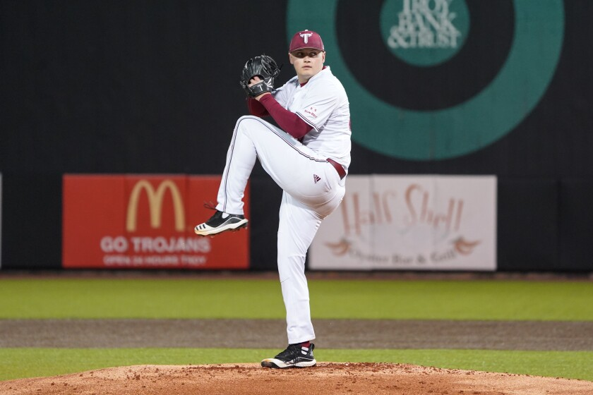 The Padres selected Troy right-hander Levi Thomas in the fourth round in MLB's 2020 draft.