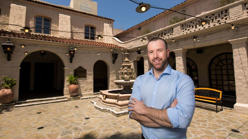 Pasadena Playhouse's new producing artistic director, Danny Feldman, in the theater's courtyard.