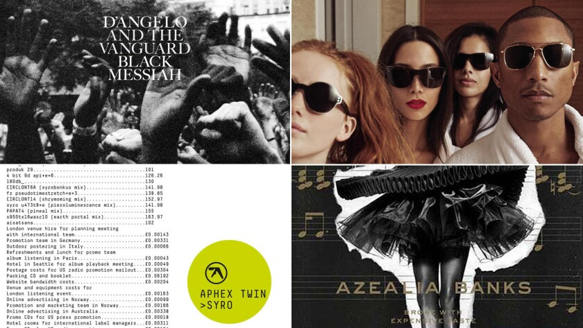 """A sample of the Times music critics' top 10 albums of 2014? From left, """"Angelo, """"Black Messiah"""" (RCA), Pharrell, """"Girl"""" (Interscope), Aphex Twin, """"Syro"""" (Warp) and Azealia Banks, """"Broke With Expensive Taste"""" (Prospect Park)."""