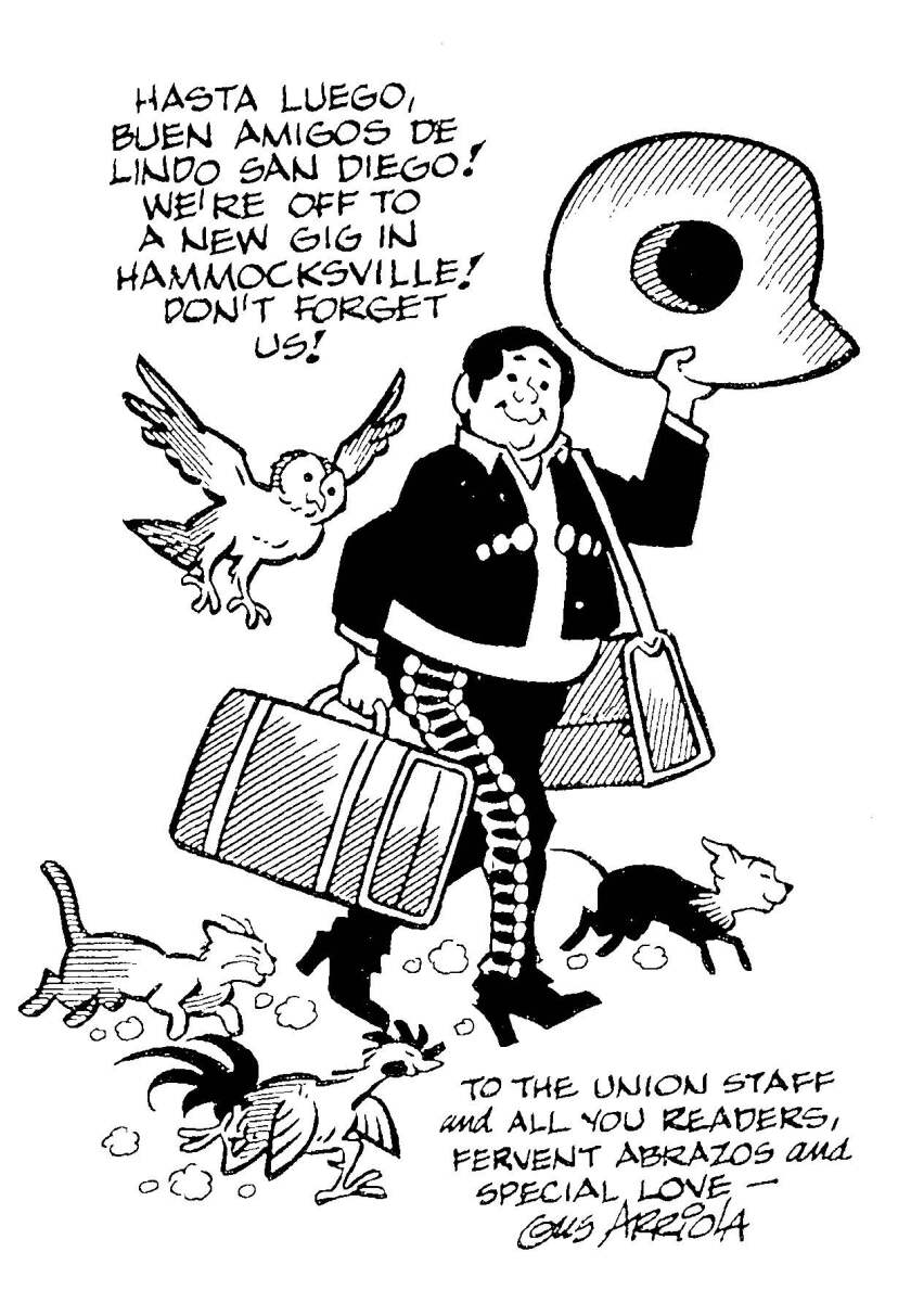 1985 Cartoon of Gus Arriola's Gordo bidding Union readers farewell