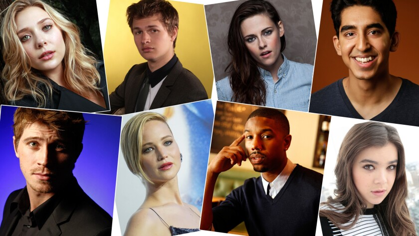 From left, Elizabeth Olsen, Ansel Elgort, Kristen Stewart, Dev Patel, Garrett Hedlund, Jennifer Lawrence, Michael B. Jordan, Hailee Steinfeld.