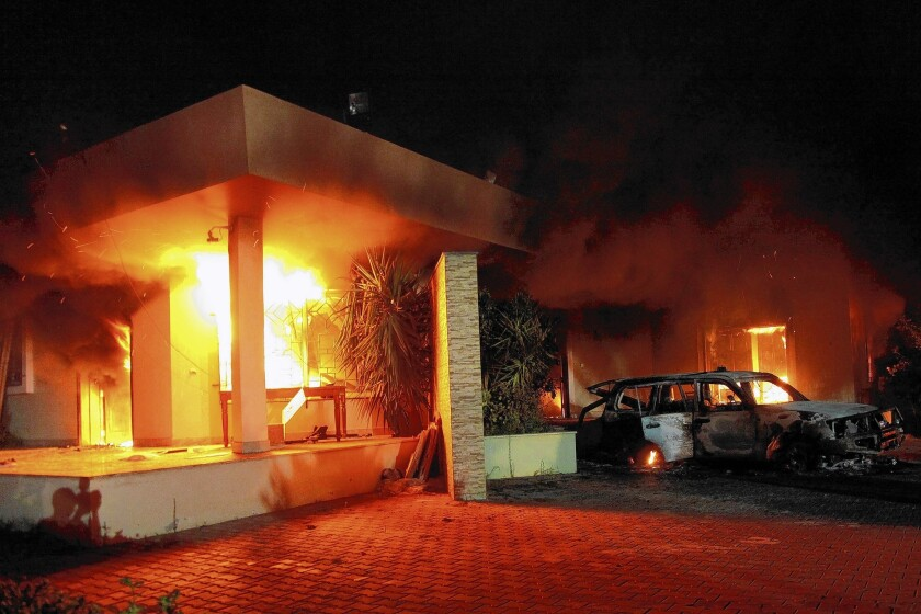 Attackers who stormed the U.S. compound in Benghazi, Libya, in September 2012 set fire to buildings and waged running gun battles with security agents.