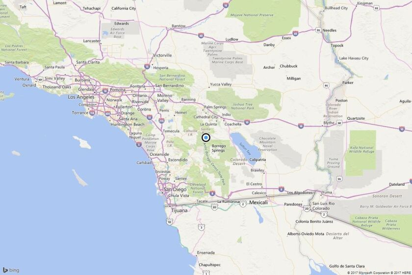A map showing the location of the epicenter of Thursday afternoon's quake near Ribbonwood, Calif.