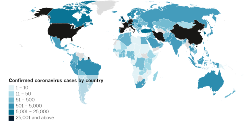 Confirmed COVID-19 cases by country as of 4:00 p.m. Friday, March 27, 2020.