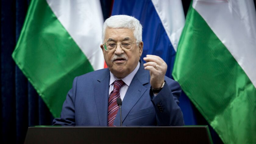 Palestinian president Mahmoud Abbas speaks during a press conference with Russian Prime Minister Dmi