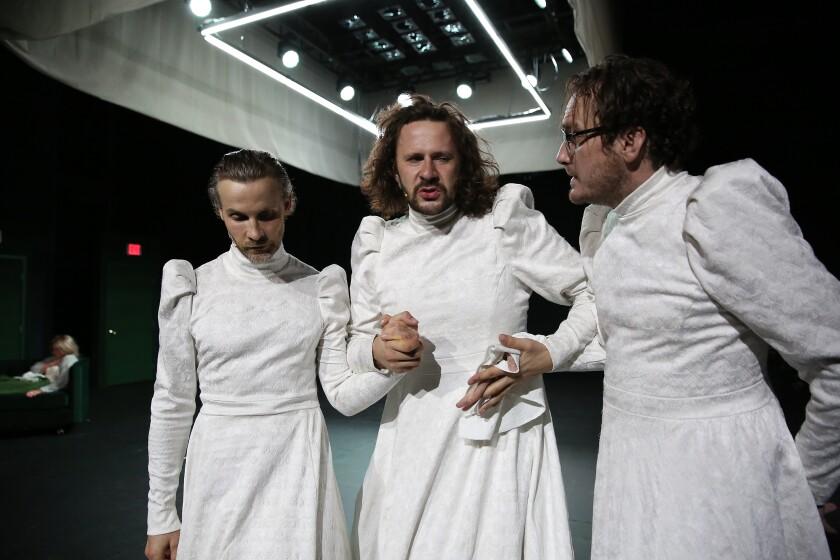 """From left Bartosz Porczyk, Robert Wasiewicz and Krzysztof Zarzecki in """"Witkacy/Two Headed-Calf"""" at REDCAT."""