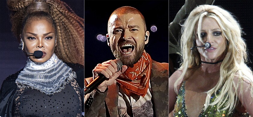 This combination photo shows, from left, Janet Jackson performing at the Essence Festival in New Orleans on July 8, 2018, from left, Justin Timberlake performing during halftime of the NFL Super Bowl 52 football game in Minneapolis on Feb. 4, 2018 and Britney Spears performing during her concert in Taipei, Taiwan on June 13, 2017. (AP Photo)