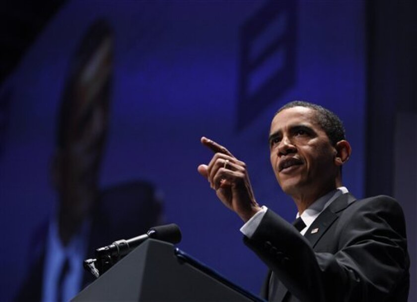 President Barack Obama, speaks at the Human Rights Campaign national dinner, Saturday, Oct. 10, 2009, in Washington. (AP Photo/Manuel Balce Ceneta)