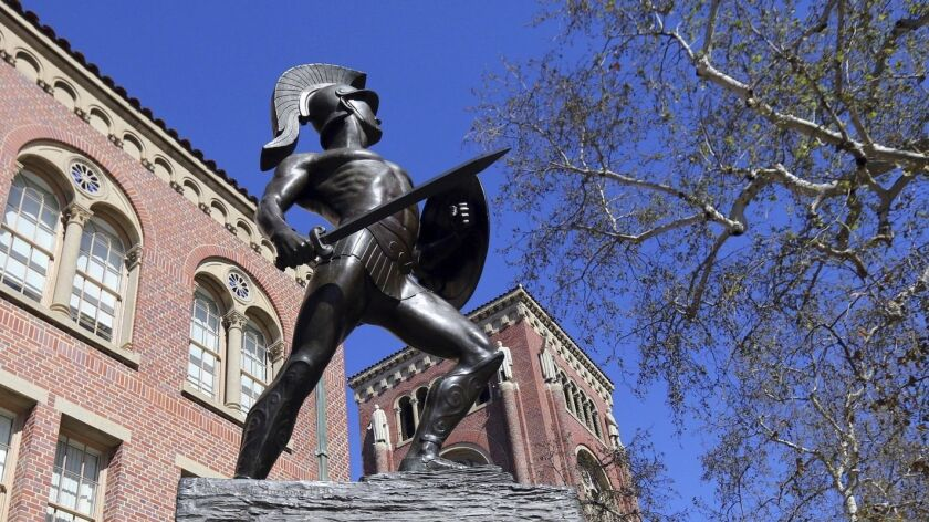 This Tuesday, March 12, 2019 photo shows the iconic Tommy Trojan statue at the University of Souther