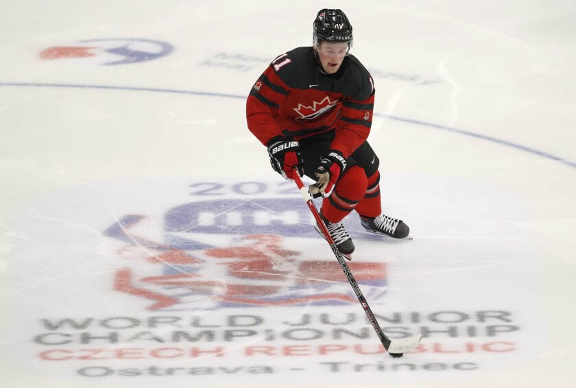 Canada's Alexis Lafreniere controls the puck during a world junior tournament game between Canada and the United States in Ostrava, Czech Republic, on Thursday.