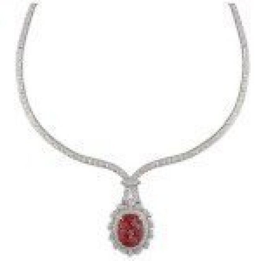 The necklace is an 8ct Spinel with diamonds.