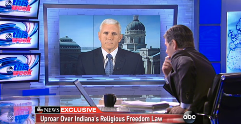 """Indiana Gov. Mike Pence, grilled by George Stephanopoulos Sunday on ABC's """"This Week."""""""