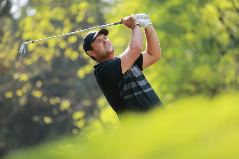 Patrick Reed plays from the seventh tee during the final round of the Mexico Championship on Sunday.