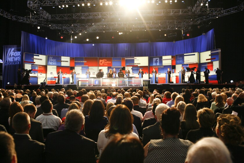 Ten candidates chosen based on polling numbers participate in the main GOP presidential debate.
