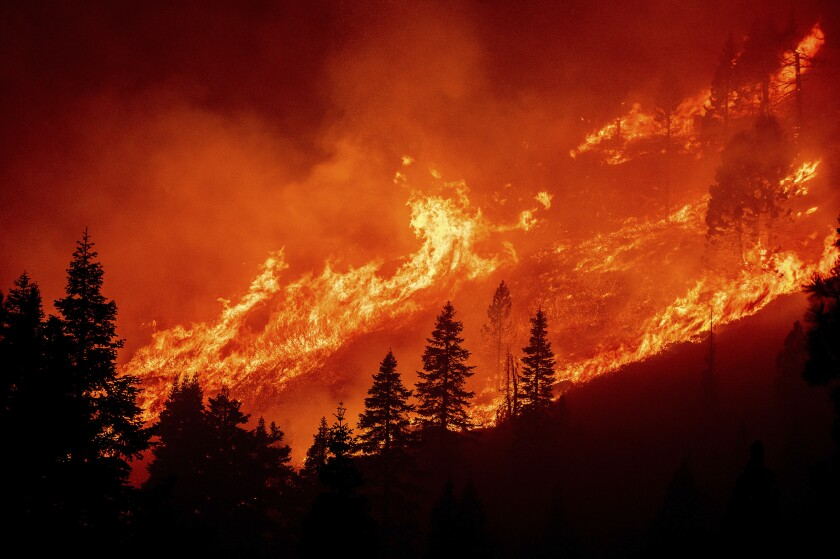 Flames from the Caldor fire leap consume a hillside above Christmas Valley